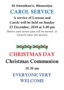 Carol Service and Christmas Day 2018 poster